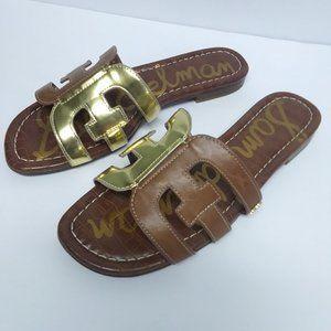 Sam Edelman Bay Brown and Gold Sandals Sz 6.5